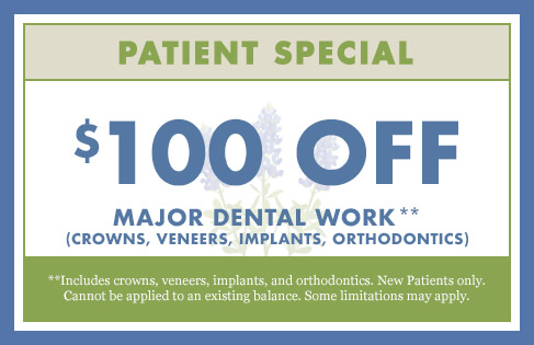 $100 Off Major Dental Work (crowns, veneers, implants, orthodontics)